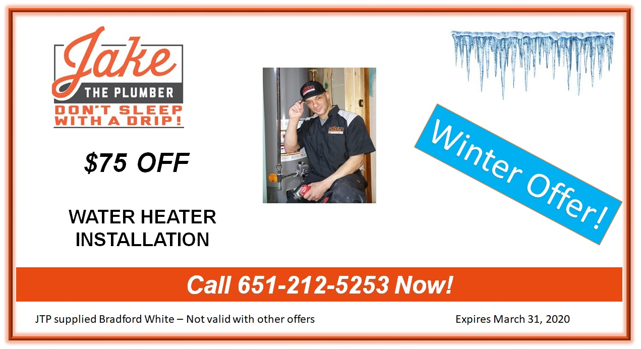 Jake the Plumber Water Heater Coupon $75 OFF